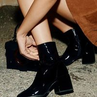 Winter New Patent Leather Boots Martin Boots High-heeled Knight Boots Black G6751 - Thumbnail 1