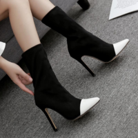 New Pointed Color-matching Women's Large Size Stretch Fabric Stiletto High-heeled Short Boots B9540 - Thumbnail 2