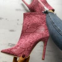 Women's Boots European and American Pointed-toe Sexy Stiletto Snakeskin High-heeled Boots F6875 - Thumbnail 1