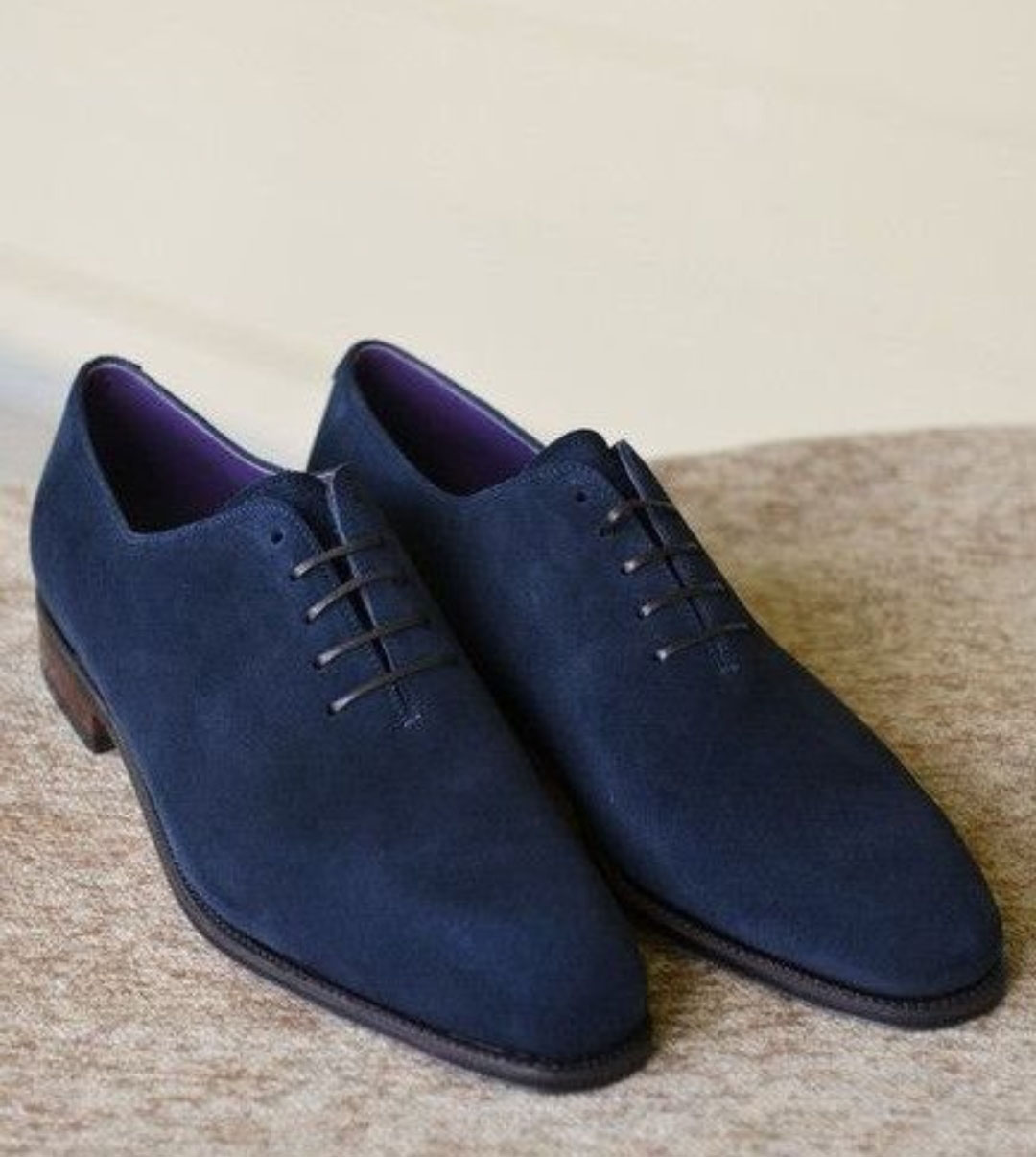 Handmade Navy Blue Suede Lace Up Shoes
