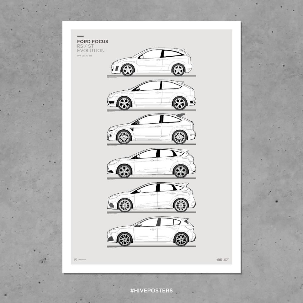 2011 Ford Focus RS500 CARS1843 Art Print Poster A4 A3 A2 A1