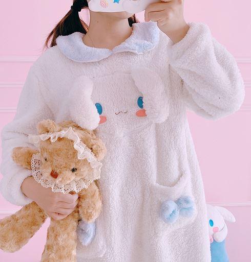 Cinnamoroll My Melody pajama dress coral fleece nightgown ...