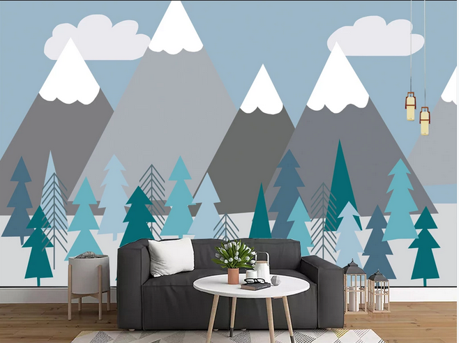Cartoon Triangle Mountains Nursery Wallpaper Trees Forest Kids Room Babies Room Children Room Wall Murals Sold By Makeupwalldecor On Storenvy