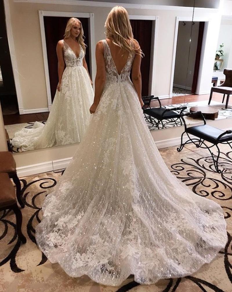 Twinkling A Line Wedding Dresses Deep V Neck Backless Appliques ...