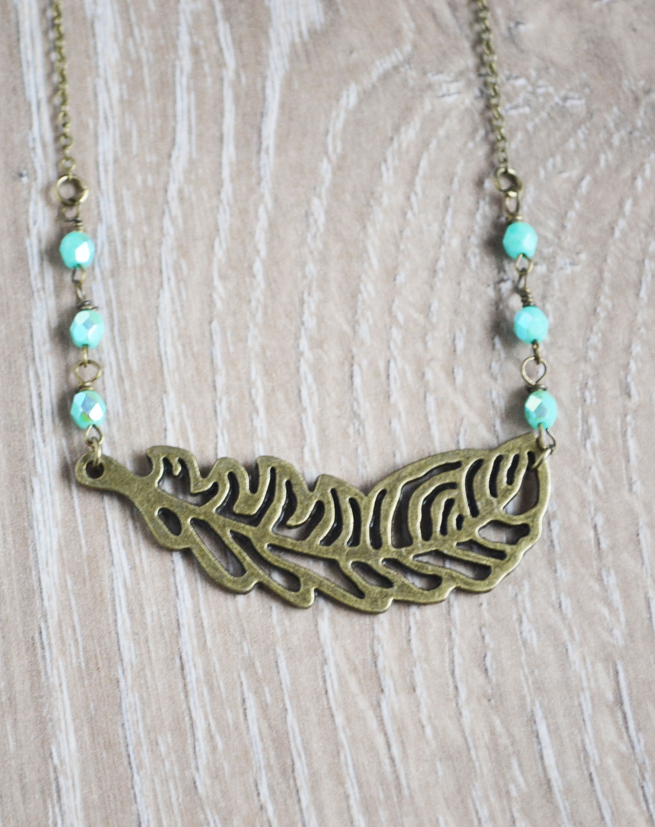 Feather Bohemian Necklace Boho Jewelry Mint Czech Beads