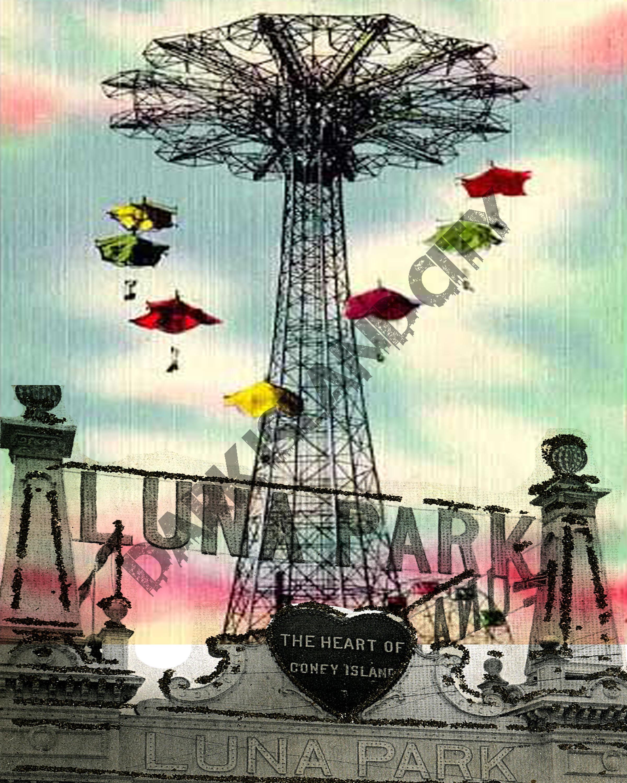 Vintage Park: Luna Park Amusement Park Vintage Mixed
