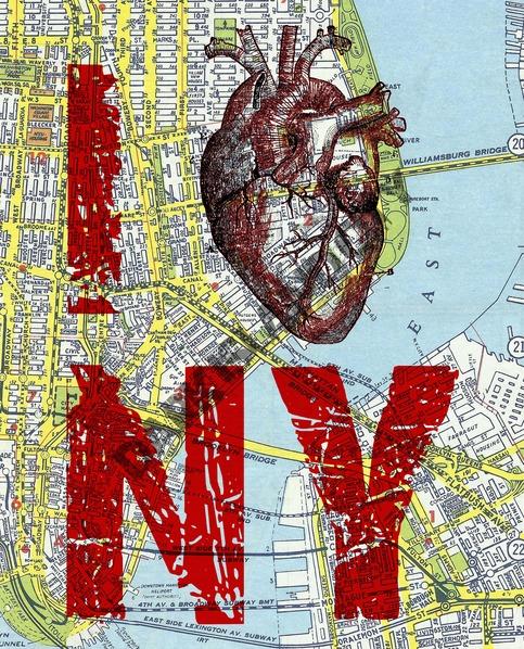 Large Art Print I Heart Ny I Love Ny New York City Map Page Background Urban Mid Century