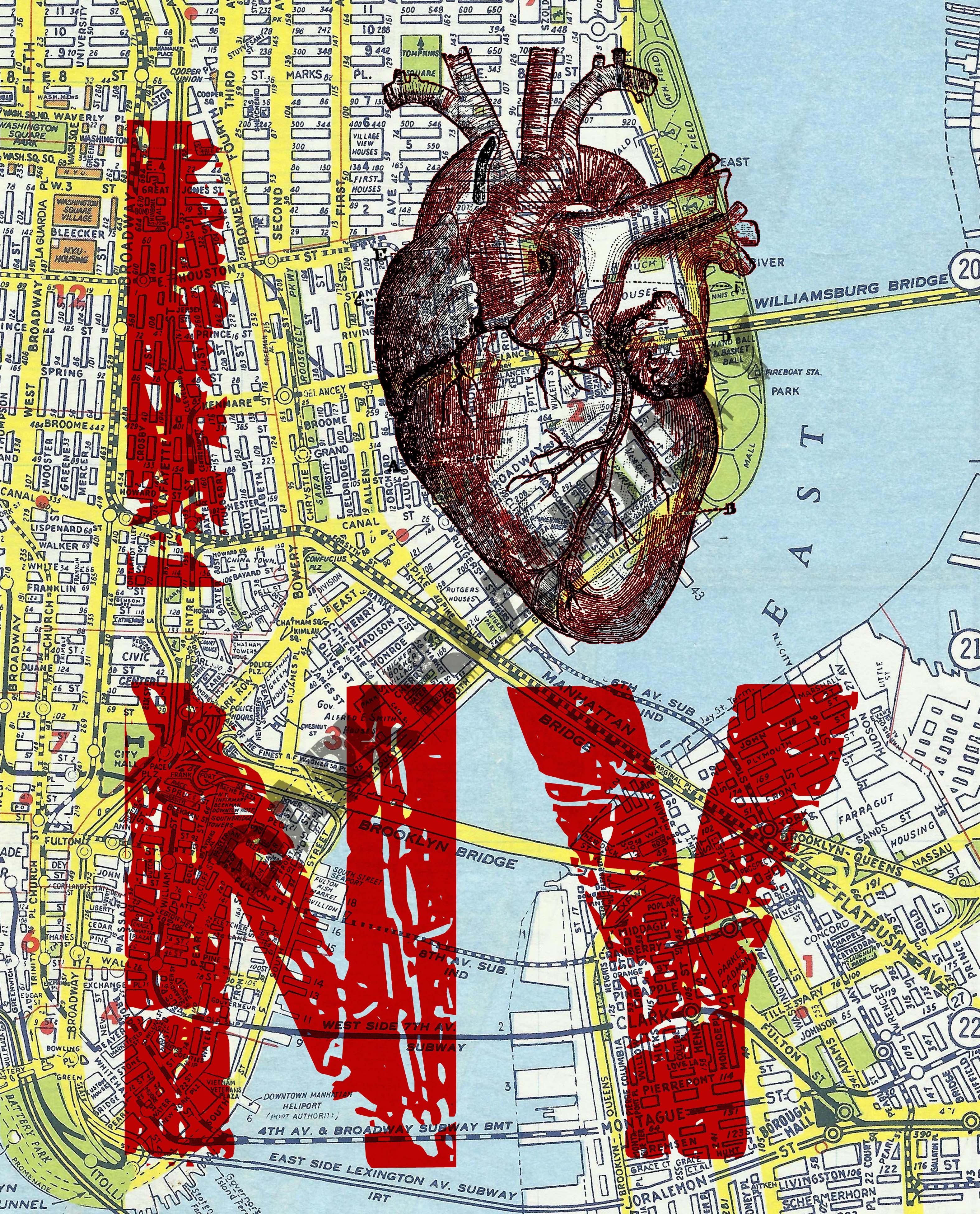 Large Art Print I Heart Ny I Love Ny New York City Map Page