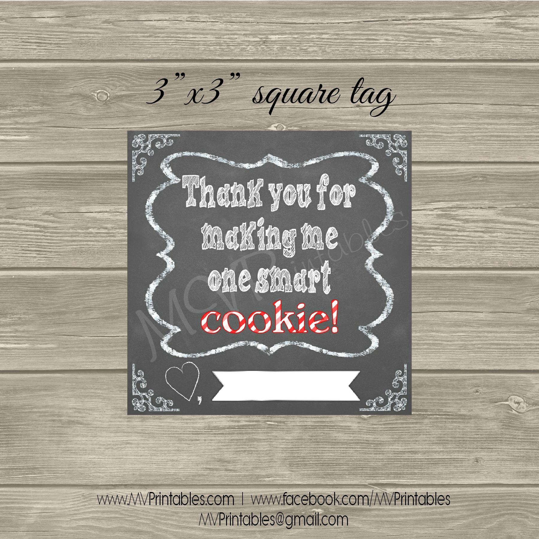 Quot Smart Cookie Quot Chalkboard Gift Tag On Storenvy
