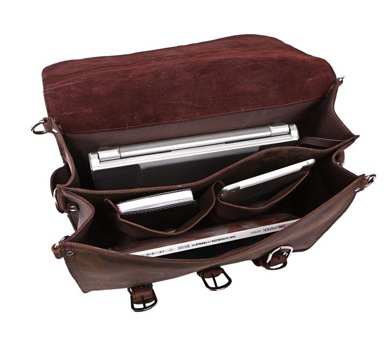 Vintage Classic Rare Mens Leather Briefcase Messenger Bag Backpack ... 39d94d9b57aa0