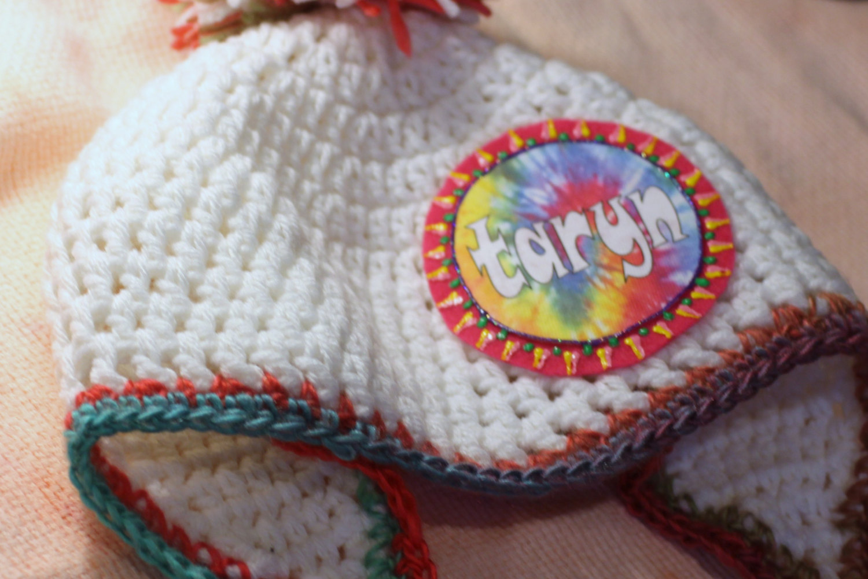 Girls Tie Dye Pom Pom Hat with Braids 370ab1485da5