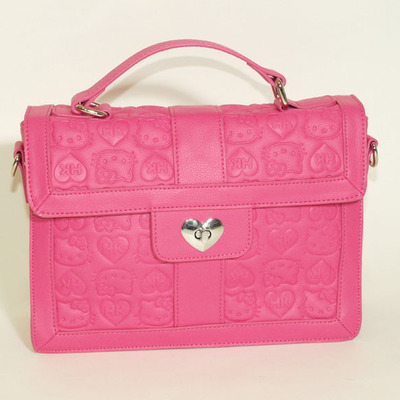 0f82b7b53 Hello kitty pink embossed satchel w/heart lock top handle bag - Thumbnail 2