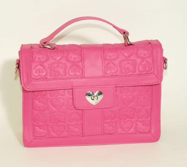 24d4b37d0 Hello Kitty Pink Embossed Satchel W/Heart Lock Top Handle Bag ...