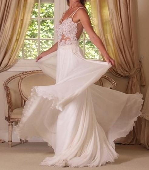 Simple Wedding Dress Hong Kong: Custom Made A Line Chiffon Backless Lace